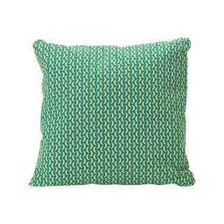 coussin motifs turquoise
