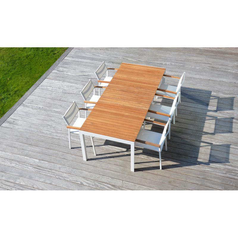 Table de jardin aluminium et teck PALAWAN