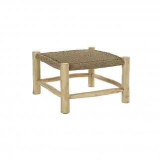 Table basse carrée en teck tressé