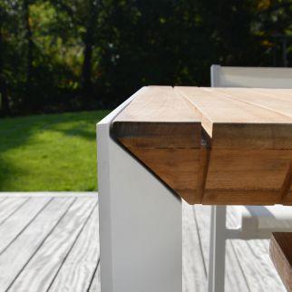 Table de jardin extensible aluminium et teck PALAWAN | Arbonie