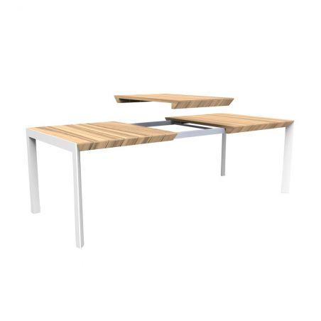 Table de jardin extensible aluminium et teck PALAWAN