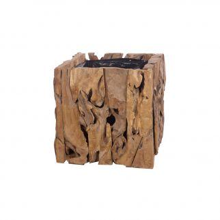 Pot carré en bois de teck