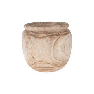Pot en bois de paulownia rond, diamètre 39 cm