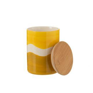 pot en porcelaine jaune