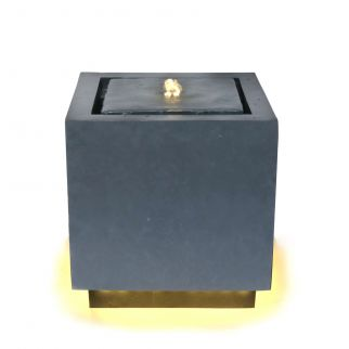 Fontaine avec lumiere LED cube granite – H38 cm