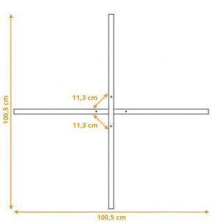 Dimensions du pied de parasol en croix à lester