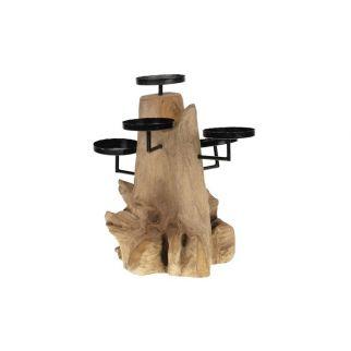 Bougeoir teck - centre de table