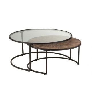 Tables basses rondes gigones bois verre