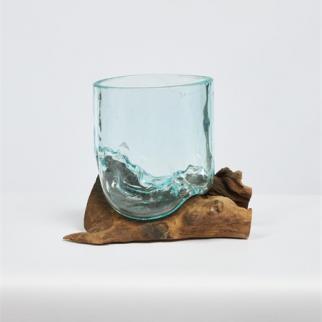Racine teck avec verre
