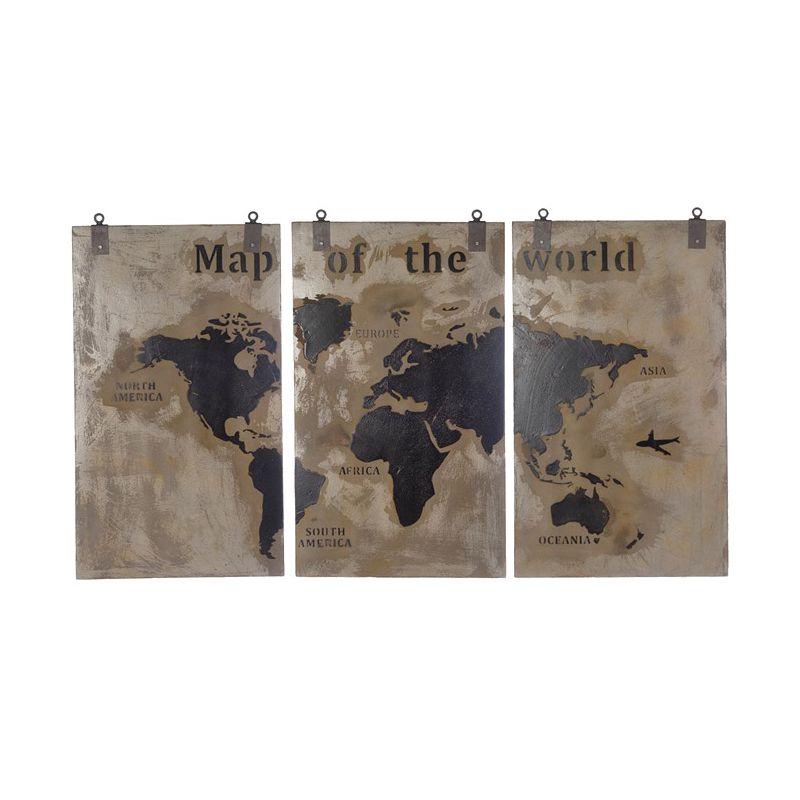 triptyque carte du monde, déco en bois (l. 210 cm) | arbonie