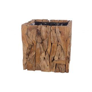 Pot carré haut en teck H78 cm