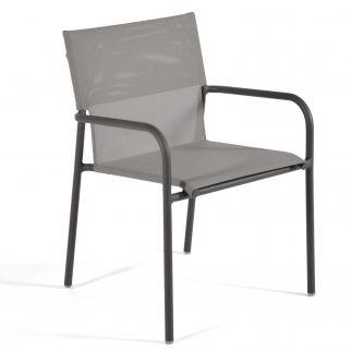 fauteuil aluminium textilène gris clair