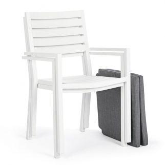 Fauteuil design blanc en aluminium