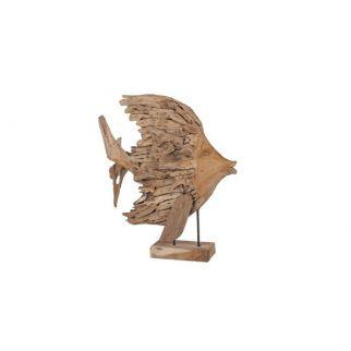 sculpture poisson bois