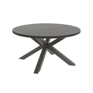 Ensemble table ronde de jardin aluminium SKIPPER + 4 fauteuils PELICAN