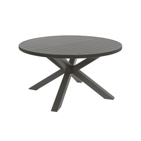 Ensemble table ronde de jardin aluminium SKIPPER + 4 fauteuils PELICAN