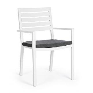 Fauteuil extérieur aluminium, chaise extérieur blanche avec coussin