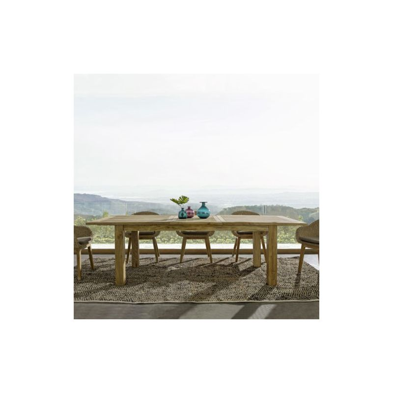 Ensemble table de jardin teck MONTEVIDEO + 6 fauteuils INGRID