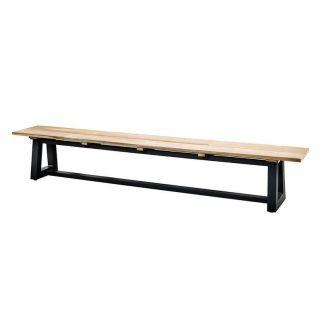 Banc table à manger aluminium teck, banc 220 cm, banc teck alu
