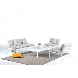 Salon de jardin bas aluminium, salon de détente extérieur alu