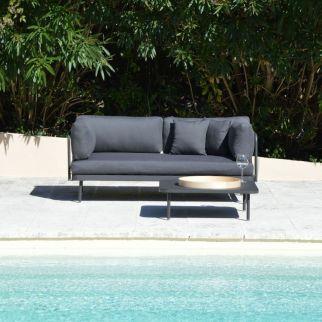 Salon bas de jardin modulable aluminium, canapé banquette extérieur