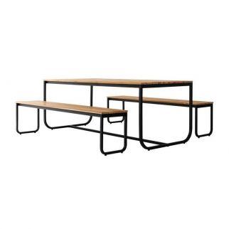 Table jardin avec banc, table en bois exterieur avec banc, salon de jardin avec banc