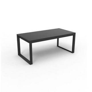Table aluminium rallonge automatique, table de jardin alu plateau verre