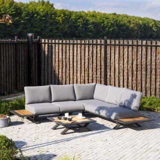 salon de jardin détente teck aluminium